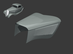 1933 Ford Coupe Hood - 1:8 & 1:12 & 1:16 in White Natural Versatile Plastic: 1:16