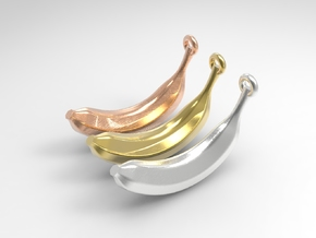 Banana Pendant in Polished Bronzed Silver Steel