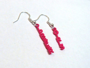 """""""I prefer girls"""" - Naughty messages earings in Pink Processed Versatile Plastic"""
