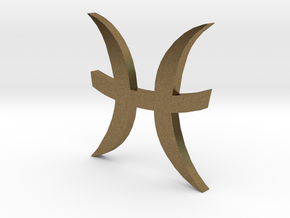 Pisces (The Fish) Symbol in Natural Bronze