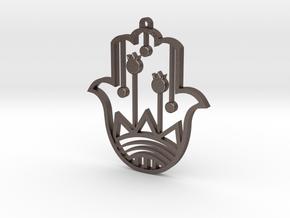 Keychain hamsa pomegranate in Polished Bronzed Silver Steel