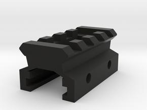 Nerf to Picatinny Adapter (4 Slots) in Black Natural Versatile Plastic