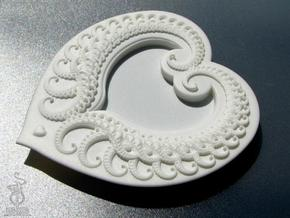 Fractal Heart Candy dish in White Natural Versatile Plastic