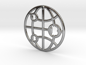 Bitcoin Network in Fine Detail Polished Silver