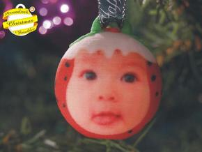 Christmas Puddin Bauble (Personalize) 3D printed in Full Color Sandstone