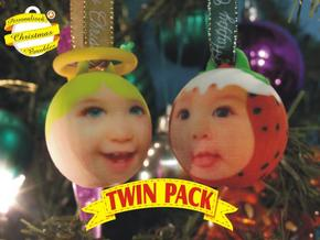 Angel & Puddin baubles twin pack (personalised) 3D in Full Color Sandstone