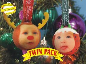 Reindeer& ChrisPuddin baubles twin pack (personali in Full Color Sandstone