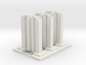 'HO Scale' - Wash Station - (3) Single Units in White Natural Versatile Plastic