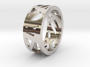 Double Sided Ring in Rhodium Plated Brass: 7 / 54
