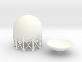 HO Spherical Tank 75mm in White Processed Versatile Plastic