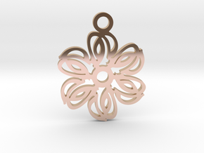 Exotic flower. Pendant in 14k Rose Gold Plated Brass