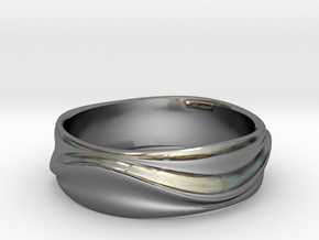 Ebb and Flow Ring No.1 - Gentle Curves, Size 7 in Fine Detail Polished Silver