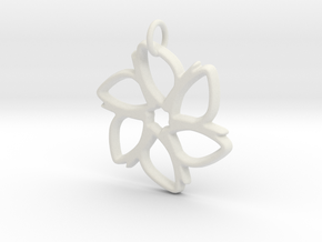 Six-Petaled Flower Pendant in White Natural Versatile Plastic
