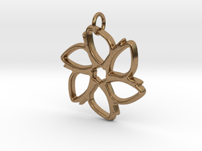 Six-Petaled Flower Pendant in Natural Brass