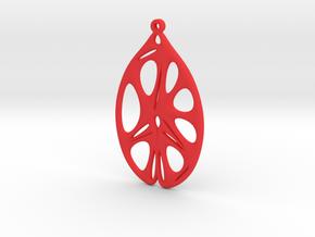 Voronoi Catenoid Curve Earring (001) in Red Processed Versatile Plastic