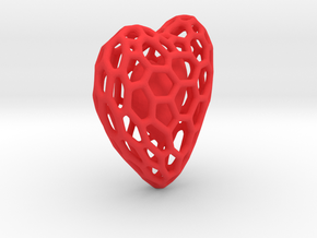 Voronoi Double Heart Pendant in Red Processed Versatile Plastic: Large