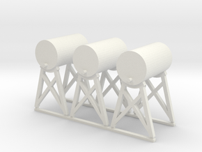 'HO Scale' - Fuel Tanks (3) in White Natural Versatile Plastic