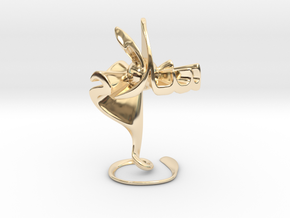 Hubb fee Salam (Love in Peace) - Sculpture in 14k Gold Plated Brass