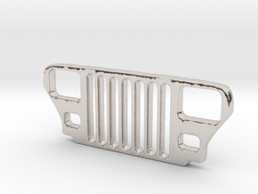 Jeep YJ Grill Keychain in Rhodium Plated Brass