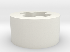 1 x 1 x 1-2 F axle hole in White Natural Versatile Plastic