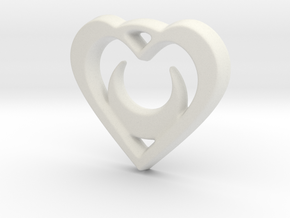 Crescent Moon Heart - 25mm Pendant in White Natural Versatile Plastic