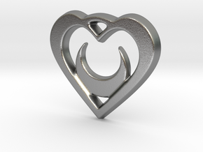 Crescent Moon Heart 35mm Pendant in Natural Silver