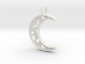 Glistening Moon 30mm Pendant in White Strong & Flexible