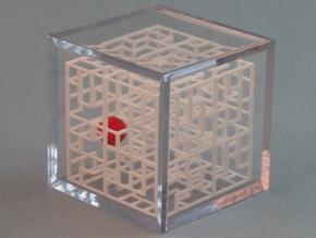 Escher's Playground 3D Maze Cube in White Natural Versatile Plastic