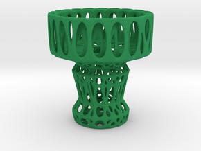 Voronoi Tea Light Holder (04) in Green Processed Versatile Plastic