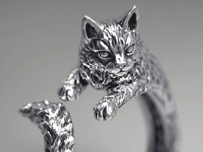 Cat Ring in Polished Silver: 5 / 49