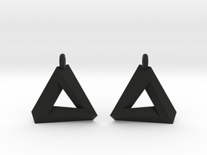 Penrose Triangle - Earrings (17mm | 1x mirrored) in Black Premium Versatile Plastic