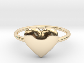 Big single heart ring, Size 7 in 14k Gold Plated Brass
