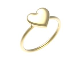 Big single heart ring, Size 7 in 18k Gold