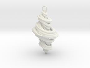 Julia Fractal Pendant in White Natural Versatile Plastic