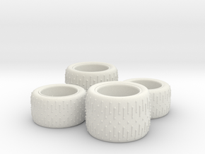 1/24 Rally Tires in White Natural Versatile Plastic