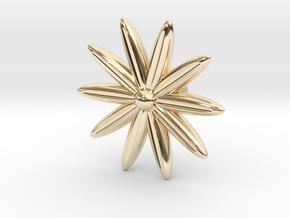 Hole Plug 0001 - flower in 14k Gold Plated Brass