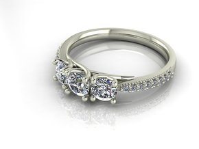 Classic 3 stone size 5.5 NO STONES SUPPLIED in Fine Detail Polished Silver