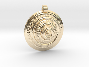 Fractal Round Pendant in 14k Gold Plated Brass