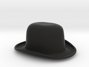 Flat-topped Bowler Hat (1:6 Scale) in Black Natural Versatile Plastic