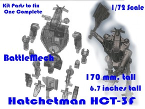 1-72 BattleMech Hatchetman In Parts in Smooth Fine Detail Plastic