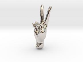 peace sign in Rhodium Plated Brass