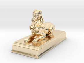 Sphinx Statue 10cm in 14k Gold Plated Brass