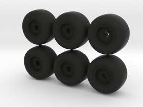 18mm d wide plain wheels in Black Natural Versatile Plastic