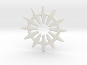 12 pointed star for pendants & earrings in White Natural Versatile Plastic