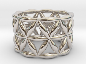 Flower of Life Ring in Rhodium Plated Brass: 5.5 / 50.25