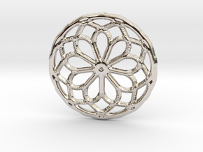 Mandala pendant or earrings with small dots in Rhodium Plated Brass