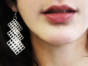 Triple Matrix Earrings in White Processed Versatile Plastic