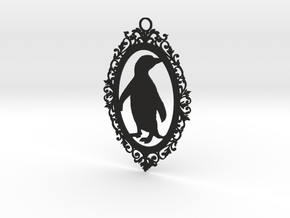 Penguin wall plaque in Black Natural Versatile Plastic