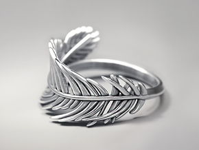 Feather Ring in Polished Silver: 5 / 49