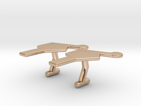 Nucleotide Cufflinks in 14k Rose Gold Plated Brass
